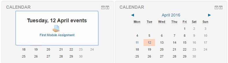 Moodle Plugin Calendar