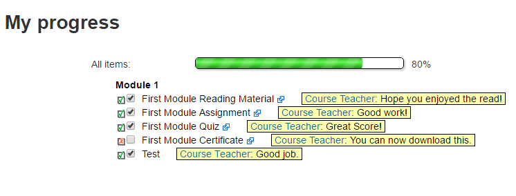 Moodle Plugin Checklist Module Student Progress