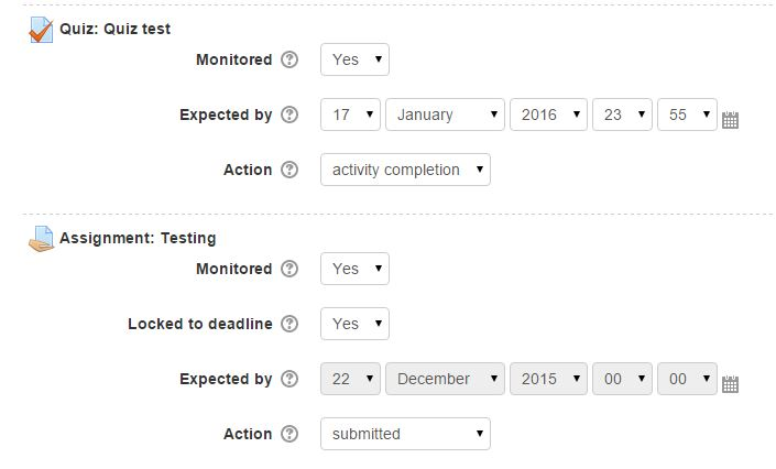 Moodle Progress Bar Activity Resource Settings