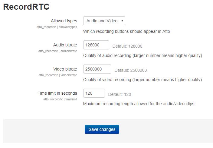 RecordRTC Settings