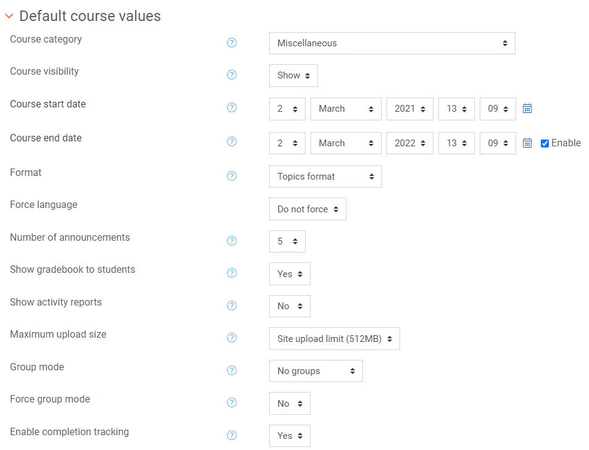 Courses in bulk defaults (1)
