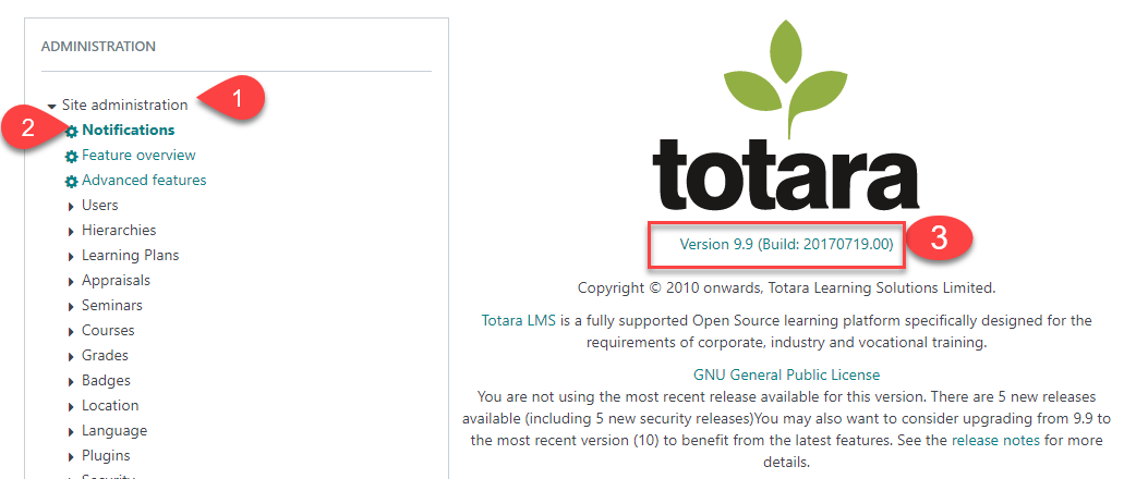 How to check your current version of Totara Learn for GDPR v2