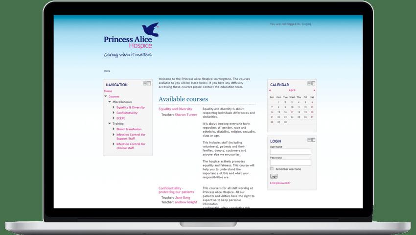 Princess Alice Hospice Moodle LMS - Moodle Hosting Provider UK