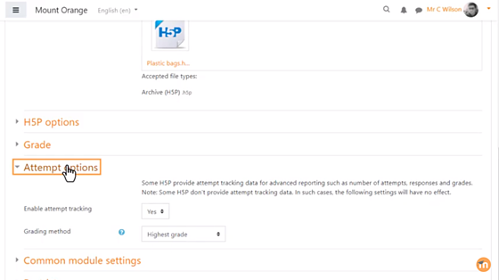 5. Then select your preferred H5P options (e.g. to allow download) and select 'Attempt tracking' where available.