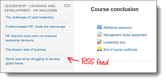 Moodle RSS feeds
