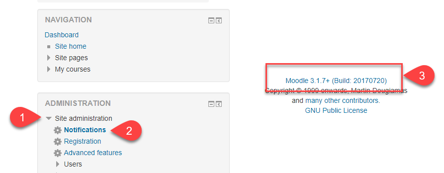 Version of Moodle Check Step 2