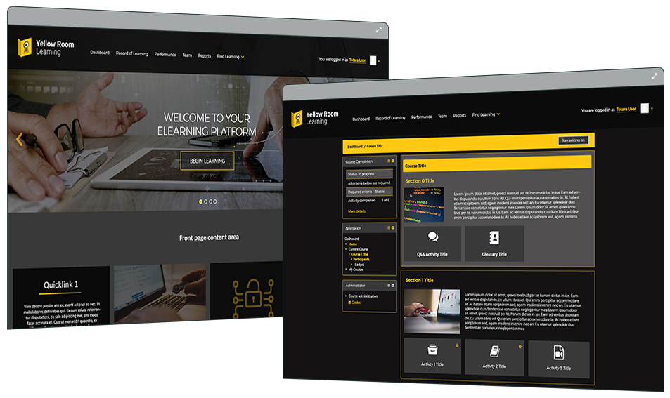 Yellow Room Learning - Totara Learn Site - LMS Case Study