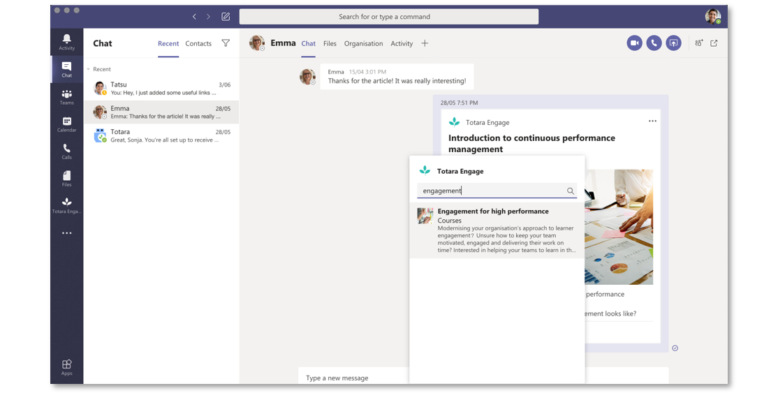 Microsoft Teams Integration - Totara Engage LXP